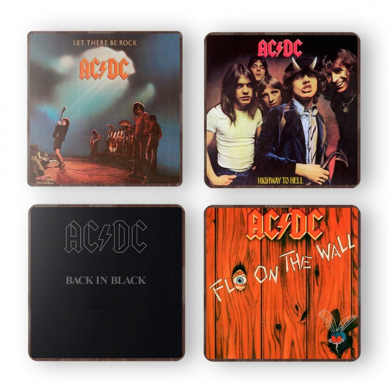 ACDC Let There Be Rock Album Cover from 1977 Wooden Coaster