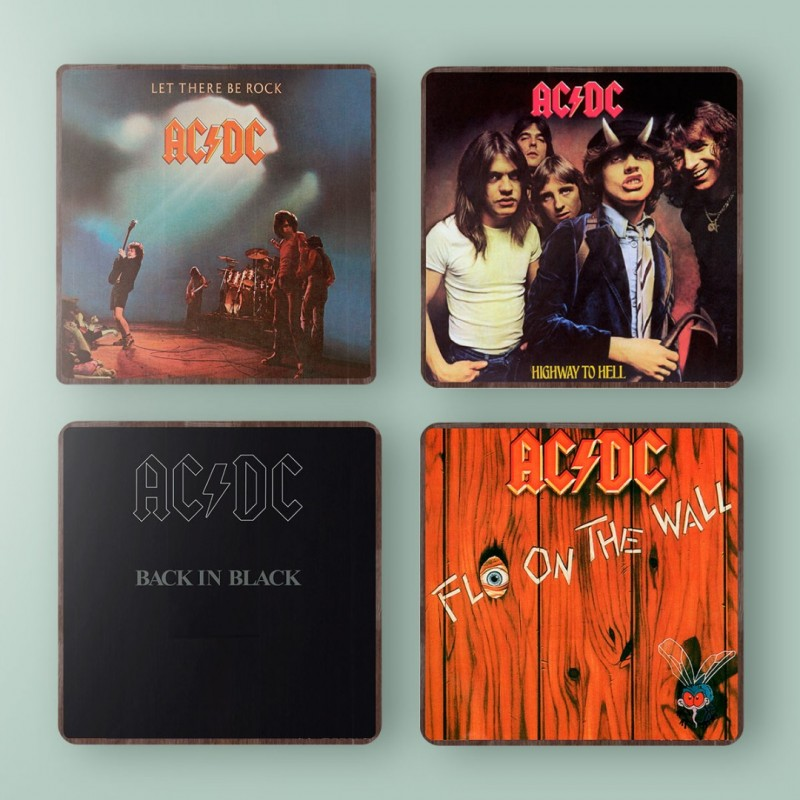 ACDC Highway to Hell Album Cover from 1979 Wooden Coaster