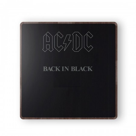 ACDC Back in Black Album Cover from 1980 Wooden Coaster