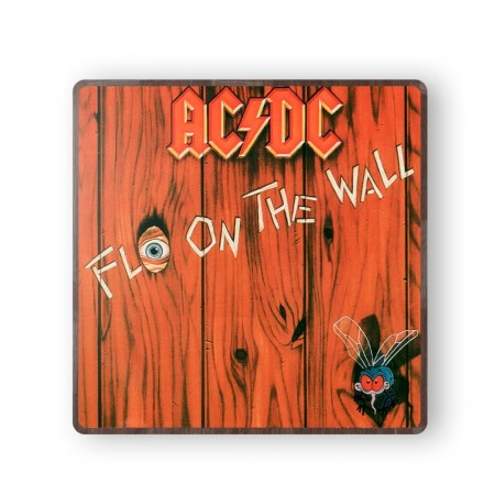 ACDC Fly on the Wall Album Cover from 1985 Wooden Coaster