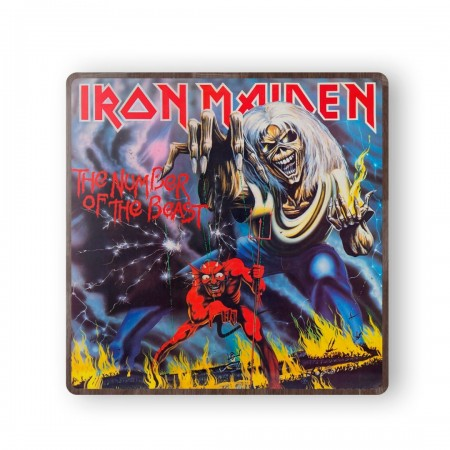 Iron Maiden The Number of the Beast Album Cover from 1982 Wooden Coaster