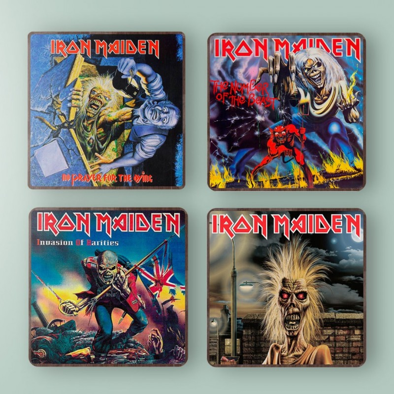 Iron Maiden Invasion Of Rarities Album Cover from 1994 Wooden Coaster