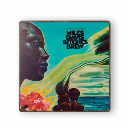 Miles Davis' Bitches Brew Album Cover from 1970 Wooden Coaster