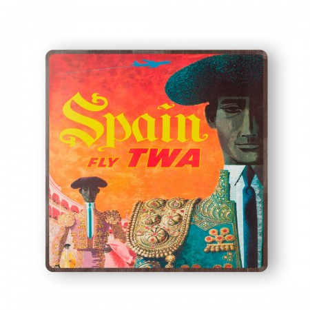 TWA - Spain 1959 Wooden Travel Coster