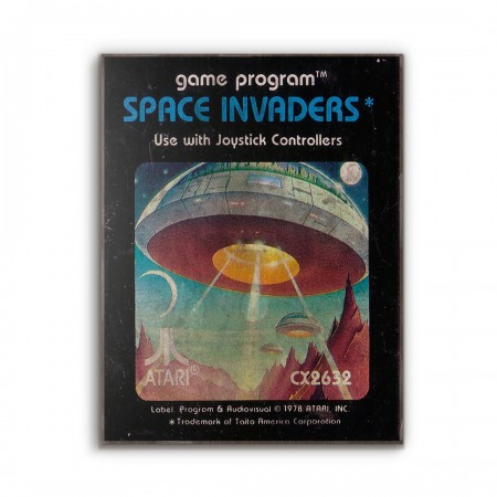 Atari 2600 Game Catridge - Space Invaders from 1978 Wooden Poster