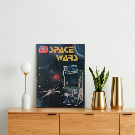 Space Wars Vintage Advertisement from 1977 Wooden Poster
