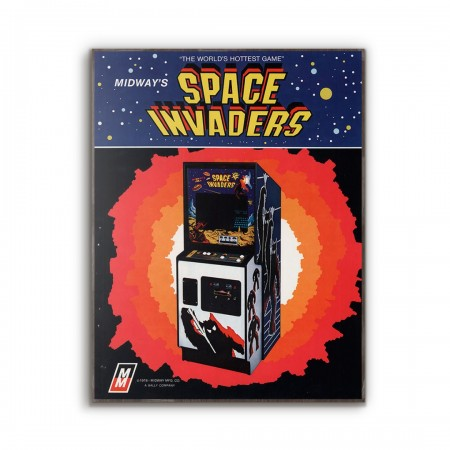 Space Invaders Vintage Advertisement from 1979 Wooden Poster
