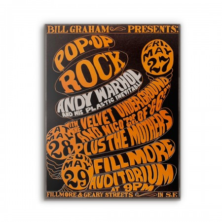 Bill Graham presents Andy Warhol and The Velvet Underground Fillmore Concert from 1966 Wooden Poster
