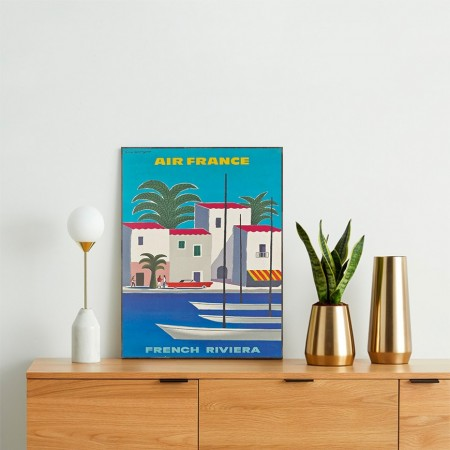 Air France - French Riviera 1965 Wooden Travel Poster