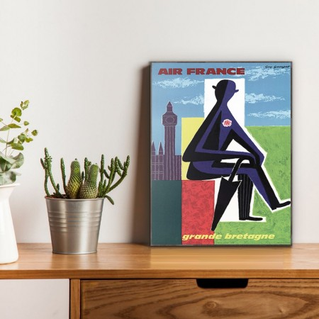 Air France - Great Britain 1963 Wooden Travel Poster
