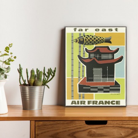 Air France - Far East 1960 Wooden Travel Poster