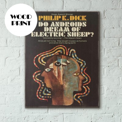 Do Android's Dream of Electric Sheep Science Fiction Book Cover 1969 Wooden Poster