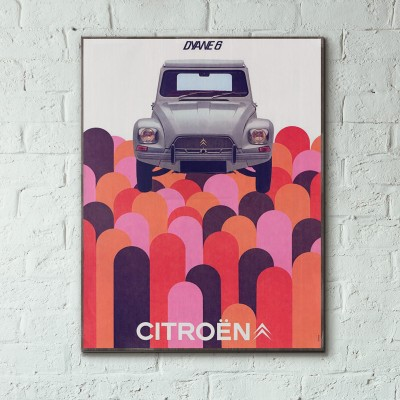 Citroen Dyan 6 Vintage Motorcycle Ad from 1967 Wooden Poster
