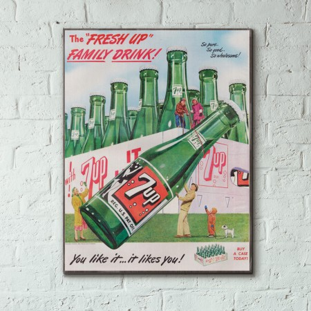 7up Family Case Vintage Ad from 1949 Wood Sign