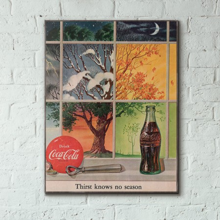 Coca-Cola Vintage Ad from 1952 Wood Sign