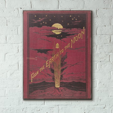 Earth to the Moon by Jules Verne Book Cover 1873 Wooden Poster