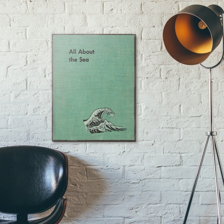 All About the Sea by Ferdinand C. Lane Book Cover 1953 Wooden Poster