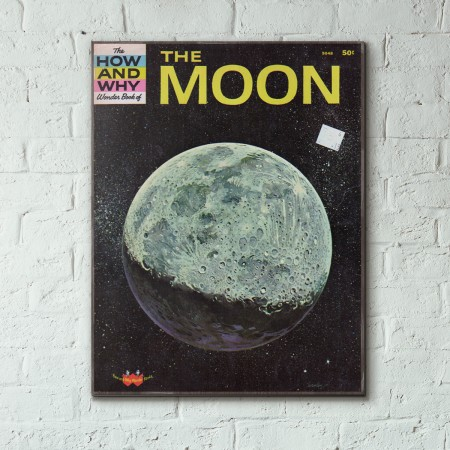 The How and Why Wonder Book of The Moon Cover 1963 Wooden Poster