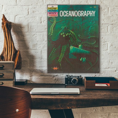 The How and Why Wonder Book of Oceanography Cover 1962 Wooden Poster