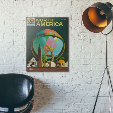 The How and Why Wonder Book of North America Cover 1961 Wooden Poster