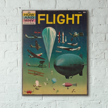 The How and Why Wonder Book of Flight Cover 1962 Wooden Poster