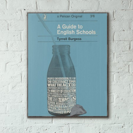 Pelican Book Covers - A Guide to English Schools 1967 Wooden Poster