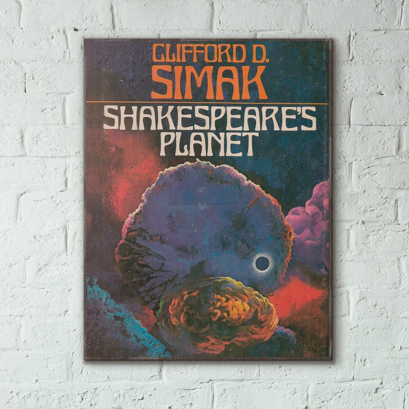 Clifford D. Simak's Shakespeare's Planet Science Fiction Book Cover 1976 Wooden Poster