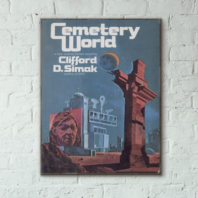Clifford D. Simak's Cemetery World Science Fiction Book Cover 1983 Wooden Poster