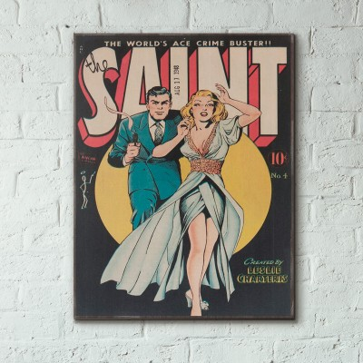 The Saint Comic Issue #1 1948 Wood Sign