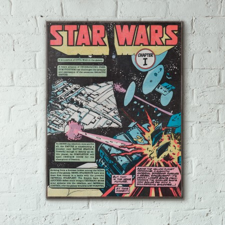 Marvel's Star Wars Comic Book Issue #1 First Page 1977 Wooden Poster