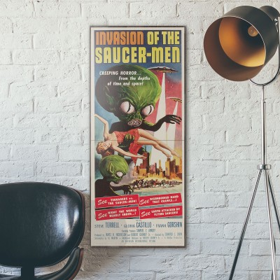 Invasion of the Saucer Men 1957 Double Wooden Poster