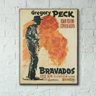 The Bravados 1958 French Wooden Poster