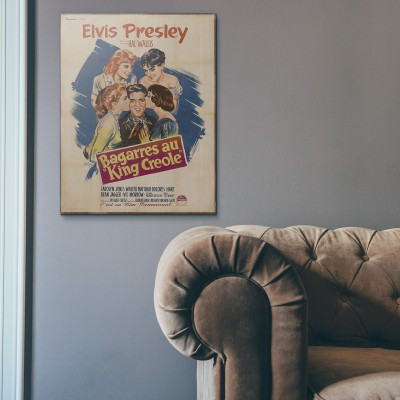 Elvis Presley's King Creole 1958 French Wooden Poster