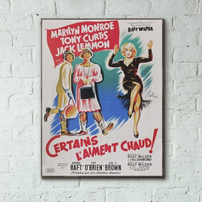 Some Like It Hot 1959 French Wooden Poster