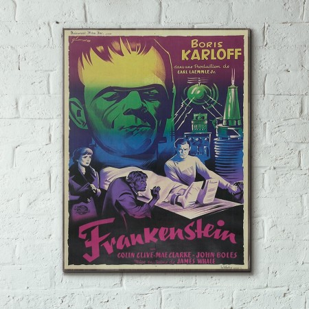 James Whale's Frankenstein 1931 French Wooden Poster