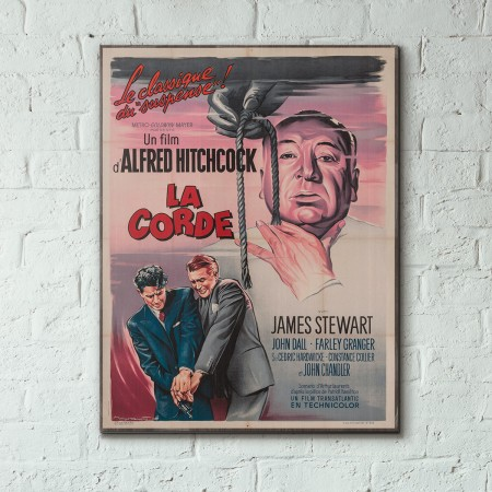 Alfred Hitchcocks' Rope 1948 Italian Wooden Poster