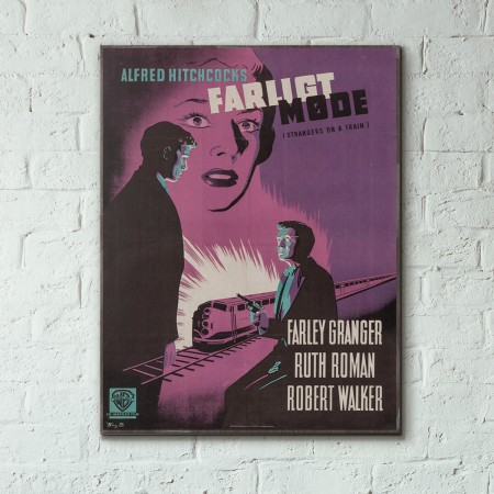 Alfred Hitchcocks' Strangers on a Train 1952 Danish Wooden Poster
