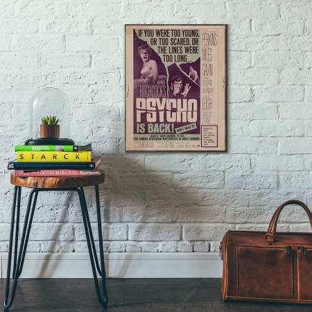 Alfred Hitchcock's Psycho 1960 Wooden Poster