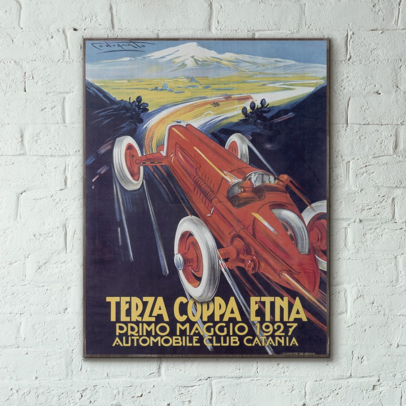 Terza Coppa Etna Car Race 1927 Wooden Poster